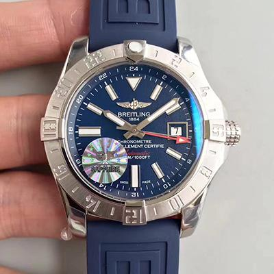 Breitling Avenger II A3239011 GMT Stainless Steel Case GF Factory  1:1 Best Edition Blue Dial on Blue Rubber Strap ETA 2836