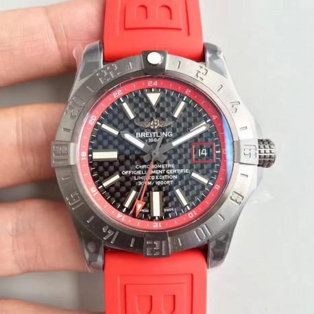 Breitling Avenger II A3239011 GMT Stainless Steel Case GF Factory  1:1 Best Edition Red Dial on Red Rubber Strap ETA 2836