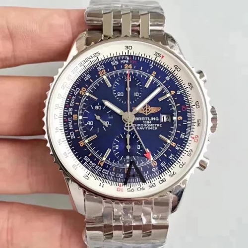 Breitling Navitimer A2432212 GMT 48mm Stainless Steel JF Factory  Best Edition Blue Dial On Stainless Steel Bracelet ETA 7750