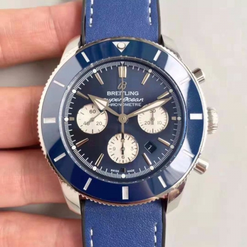 Breitling Superocean Heritage II AB0162161C1A1 Chronograph B01 44mm Stainless Steel 1:1 Best Edition Blue Bezel Blue Dial On Blue Leather Strap 7750
