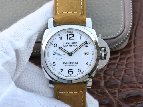 Panerai Luminor 1950 Luminor 1950 PAM1523 S Ladies 42mm ZF Factory  1:1 Best Edition Stainless Steel White Dial on Brown Asso Leather Strap P9010 (Cor