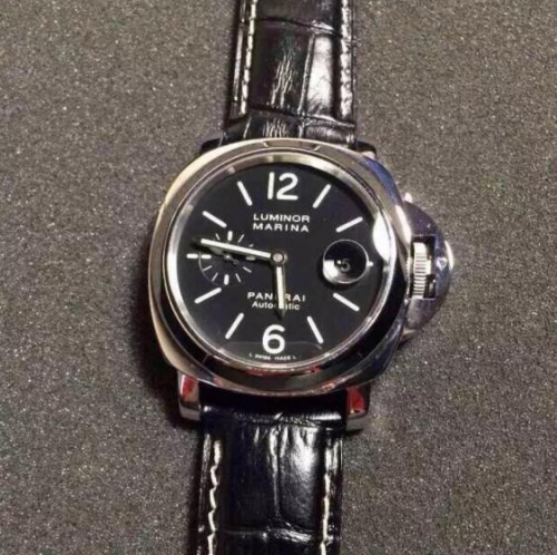 Panerai Luminor PAM104 K Stainless Steel XF Factory 1:1 Best Edition Black Dial on Black Crocodile Leather Strap 7750