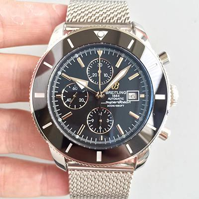 Breitling Superocean Heritage II Chronograph A1331233 Stainless Steel Case black Bezel noob V6F Factory 1:1 Brown Dial On Mesh Bracelet 7750