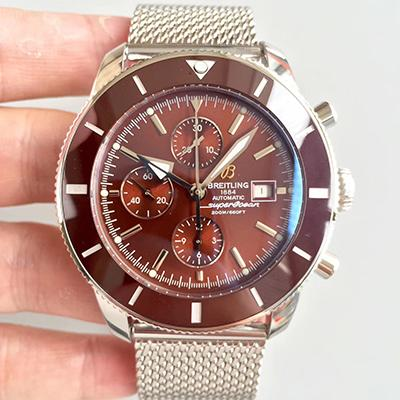 Breitling Superocean Heritage II Chronograph A1331233 Stainless Steel Case Brown Bezel noob V6F Factory 1:1 Brown Dial On Mesh Bracelet 7750
