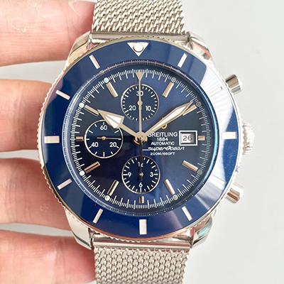 Breitling Superocean Heritage II Chronograph A1331233 Stainless Steel Case blue Bezel noob V6F Factory 1:1 Brown Dial On Mesh Bracelet 7750