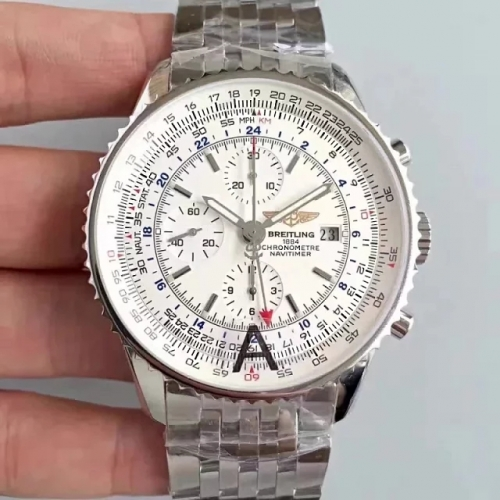Breitling Navitimer A2432212 GMT 48mm Stainless Steel JF Factory  Best Edition White Dial On Stainless Steel Bracelet ETA 7750