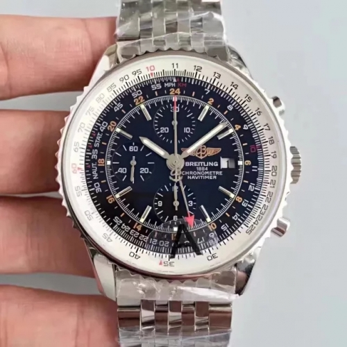 Breitling Navitimer A2432212 GMT 48mm Stainless Steel JF Factory  Best Edition Black Dial On Stainless Steel Bracelet ETA 7750