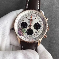Breitling Navitimer RB012012/BA49 Chronograph 18K Rosegold Case JF Factory  1:1 Best Edition White Dial on Black Leather Strap ETA 7750