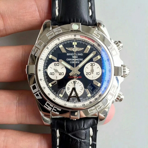 Breitling Chronomat AB011012 Chronograph Stainless Steel JF Factory 1:1 Best Edtion Black Dial White Inner Bezel on Black Calfskin Leather Strap ETA 7
