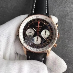 Breitling Navitimer RB012012/BA49 Chronograph 18K Rosegold Case JF Factory  1:1 Best Edition Black Dial on Black Leather Strap ETA 7750