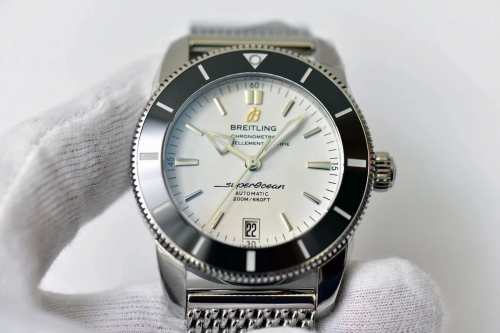 Breitling Superocean Heritage II AB201012/G827-154A Automatic B20 42mm Stainless Steel GF Factory 1:1 Best Edition Black Bezel White Dial On Mesh Brac