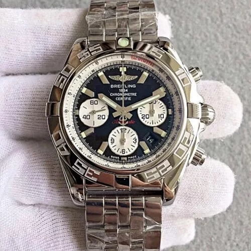 Breitling Chronomat AB011012 Chronograph Stainless Steel JF Factory  1:1 Best Edition Black Dial White Inner Bezel On Stainless Steel Bracelet ETA 775