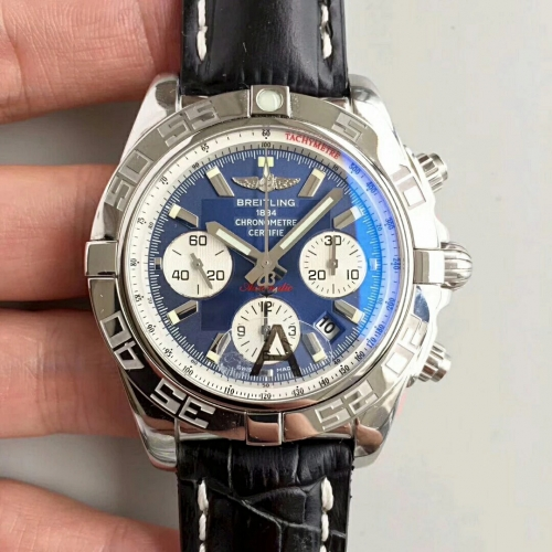 Breitling Chronomat AB011012/C788 Chronograph Stainless Steel JF Factory 1:1 Best Edition Blue Dial White Inner Bezel on Black Calfskin Leather Strap