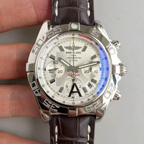 Breitling Chronomat AB011012/G684 Chronograph Stainless Steel JF Factory 1:1 Best Edition White Dial White Inner Bezel on Brown Calfskin Leather Strap