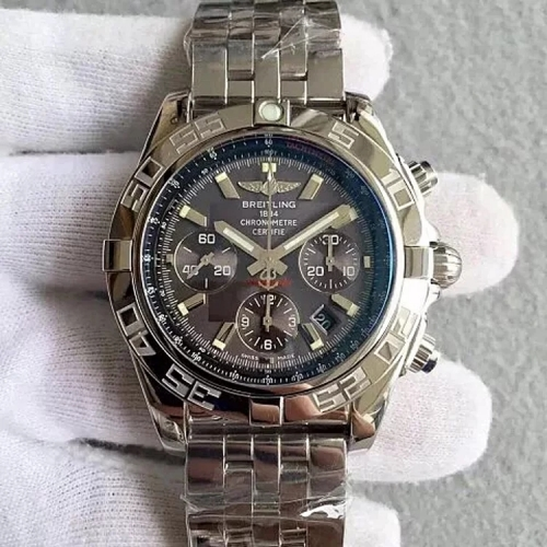Breitling Chronomat AB011012 Chronograph Stainless Steel JF Factory  1:1 Best Edition Gray  Dial White Inner Bezel On Stainless Steel Bracelet ETA 775