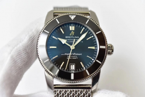 Breitling Superocean Heritage II AB201012/G827-154A Automatic B20 42mm Stainless Steel GF Factory 1:1 Best Edition Black Bezel black Dial On Mesh Brac