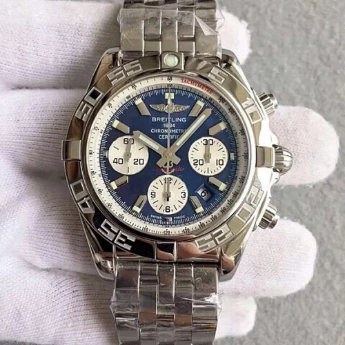 Breitling Chronomat AB011012 Chronograph Stainless Steel GF Factory  1:1 Best Edition Blue Dial White Inner Bezel On Stainless Steel Bracelet ETA 7750
