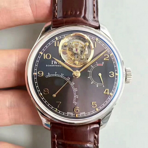 IWC Schaffhausen Portuguese IW504601 Tourbillon Stainless Case YL Factory 1:1 Best Edition gray Dial On brown Leather Strap A.Seagull