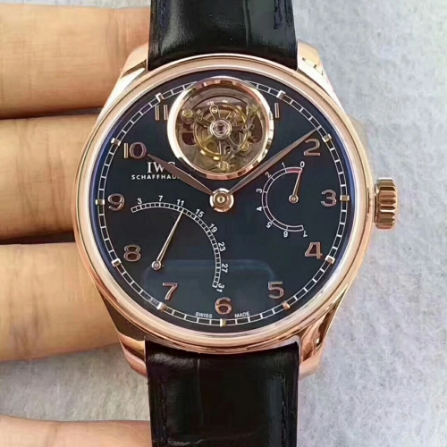 IWC Schaffhausen Portuguese IW504601 Tourbillon Stainless Case YL Factory 1:1 Best Edition Rose Gold  On black Leather Strap A.Seagull
