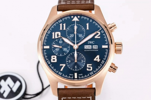 IWC Pilot Chronograph Edition Le Petit Prince IW377721 ZF Rose Gold Blue Dial Swiss 7750