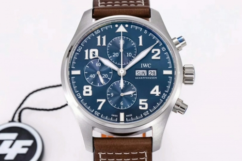 "IWC Schaffhausen Pilot Chronograph Stainless Steel IW377706 ""Le Petit P rince"" ZF Factory 1:1 Blue Dial Day-Date on Brown Leather Strap ETA 7750y-Date"