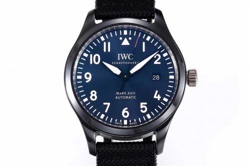 IWC Schaffhausen Pilot IW324703 Mark XVIII Real Ceramic Laureus Sport For Good Fondation MKS Factory V2 1:1 Best Edition Blue Dial on Green Black Nylo