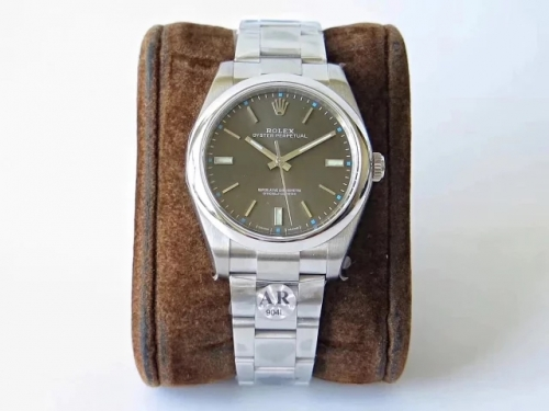 Rolex Oyster Perpetual 114300 39mm 904L Stainless Steel Case AR ARF Factory 1:1 Best Edition Grey Dial on 904L Stainless Steel Bracelet 3132