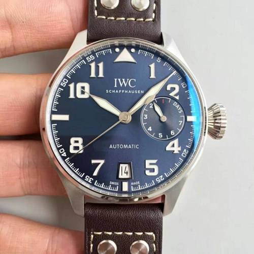 IWC Schaffhausen Big Pilot Real PR IW500908 Stainless Steel Le Petit P rince ZF Factory 1:1 Best Edition Blue Dial on Brown Leather Strap 51111