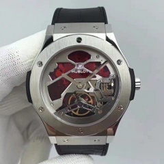 Hublot Classic Fusion 502.NX.0001.LR Manual Tourbillon Vitrail 45mm SS TF 1:1 Best Edition Black/Red Skeleton Dial on Black Gummy Strap A23J