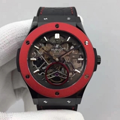 Hublot Classic Fusion 505.CI.0140.LR.OWM13 Tourbillon Black PVD Case Red Bezel 45mm TF 1:1 Best Edition Skeleton Dial on Black Gummy Strap A23J