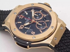 Hublot Big Bang 301.PX.130.RX 44mm Black Dial Rose Gold Bezel on Black Rubber Strap HUB4100 ETA 7750