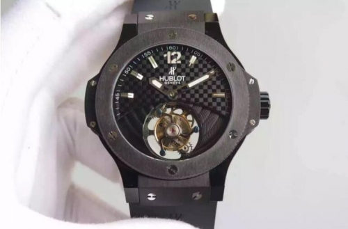 Hublot Classic Fusion 505.CS.1270.VR 45mm Tourbillon Ceramic Case Night Out Black Dial TF 1:1 Best Edition on Black Gummy Strap A.Seagull