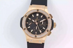 Hublot Big Bang Chronograph 301.PX.1180.RX.1104 HBB Factory V6 Rose Gold & Diamonds Black Dial Swiss HUB4100