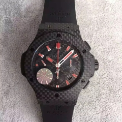 Hublot Big Bang 44mm Carbon Fiber Case 301.QX.1734.RX Red Market HBB Factory V6F Best Edition on Black Rubber Strap HUB4100