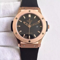 Hublot Classic Fusion 565.PX.1180.LR.1104 42mm 18K Rosegold Case RM Factory 1:1 Best Edition Bezel Black Dial on Black Rubber Strap ETA 2824
