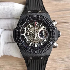 Hublot Big Bang Unico Carbon 411.QX.1170.RX Noob Factory Carbon Fiber & Diamond Skeleton Dial Swiss HUB1242