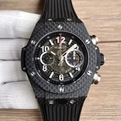 Hublot Big Bang Unico 45.5 mm Carbon Fiber Case 411.QX.1170.RX Chronograph Noob Factory1:1 Best Edition on Black Rubber Strap A.HUB1241