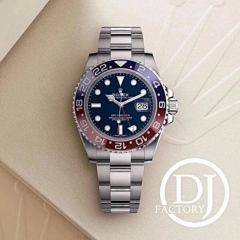 Rolex GMT Master II 116719 BLRO Pepsi 316L Stainless Steel Case DJF 1:1 Best Edition REAL Blue Red Ceramic Insert Blue Dial on Oyster Stainless Steel