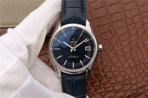 Omega De Ville Hour Vision 433.33.41.21.03.001 Stainless Steel Co-Axial 41mm 3S Factory 1:1 Best Edition Blue Dial on Blue Leather Strap 8900 Super Cl