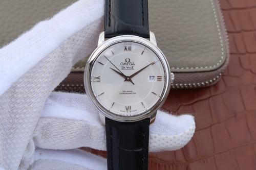 Omega De Ville Prestige 424.10.40.20.03.003 Stainless Steel Case 39.5mm RXW 1:1 Best Edition white Textured Dial Silver Marker On Leather Strap 2892