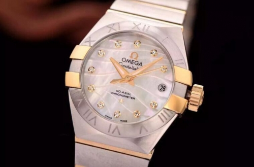 Omega Constellation Double Eagle Lady 27MM Stainless Steel & Rose Gold White Dial Swiss 8520