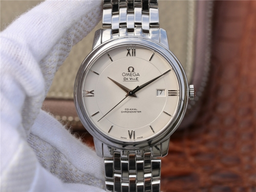 Omega De Ville Prestige 424.10.40.20.02.003 39.5mm MKS 1:1 Best Edition WhiteDial Silver Marker On Stainless Steel Bracelet Miyota 9015