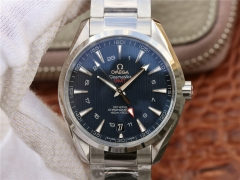 Omega Seamaster Aqua Terra 231.10.43.22.03.001 150M Stainless Steel GMT Blue Dial VSF 1:1 Best Edition On Stainless Steel Bracelet 8605 V2