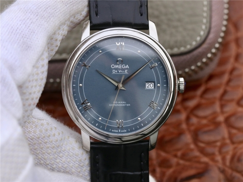 Omega De Ville Prestige 424.13.40.20.03.002 Stainless Steel Case 39.5mm MKS Factory  Best Edition V4 Blue Dial Leather Strap Miyota Swiss  9015