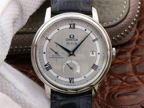 Omega De Ville Prestige 424.13.40.21.02.003 Real PR Stainless Steel Case 39.5mm TW Factory Best Edition Silver Dial Blue Marker Leather Strap Swiss 28