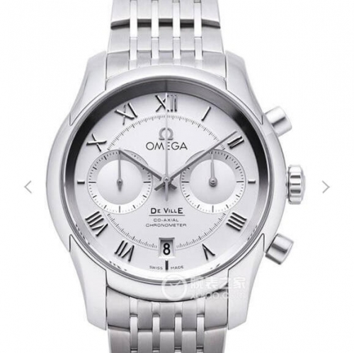 Omega De Ville Chronograph 431.10.42.51.02.001 Working Counter Stainless Steel OMF 1:1 Best Edition White Dial on SS Bracelet 9300