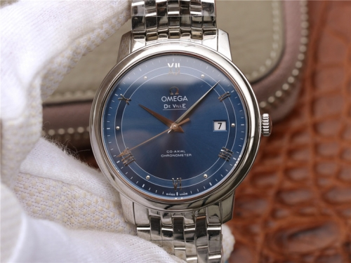 Omega De Ville Prestige 424.10.40.20.03.002 Case 39.5mm GP 1:1 Best Edition V4 Blue Dial On Stainless Steel Bracelet Miyota 9015