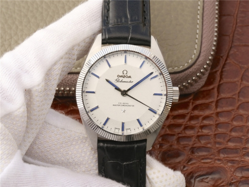 Omega Constellation Globemaster 130.93.39.21.99.001 39mm Stainless Steel V6F 1:1 Best Edition Silver Dial On Blue Leather 8913