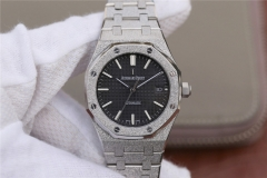 Audemars Piguet Royal Oak 37mm 15454BC.GG.1259BC.01 Replicated Frosted Gold  JH Silver Dial on Stainless Steel Bracelet 3120