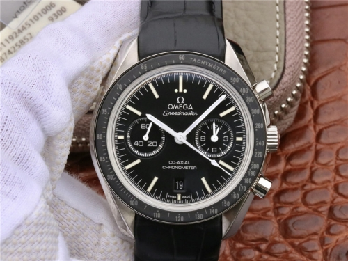 Omega Speedmaster 311.33.44.51.01.001 Moonwatch Co-Axial Chronograph OMF Best Edition Black Dial Black Leather Strap 9300